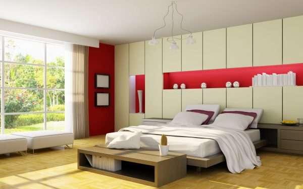 Бежевая спальня с элементами красного