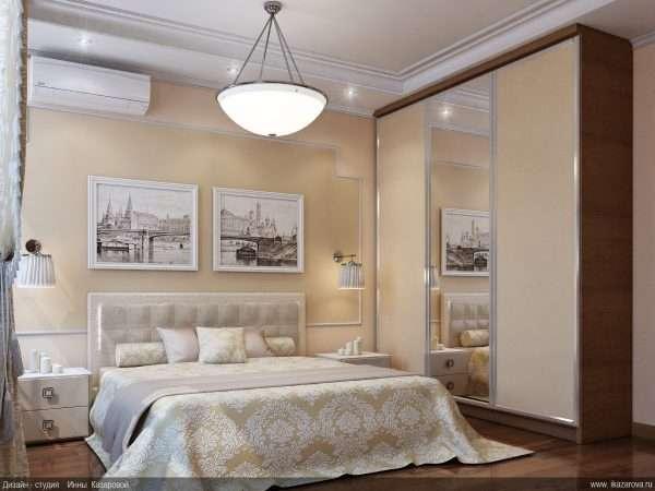 Спальня со светлой мебелью в пастельных красках