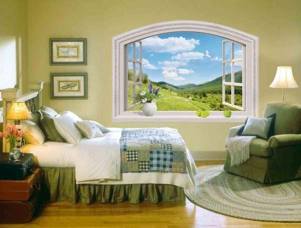 Фальш-окно: фотообои для спальни