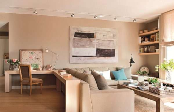 Пример зонирование помещения гостиной спальни