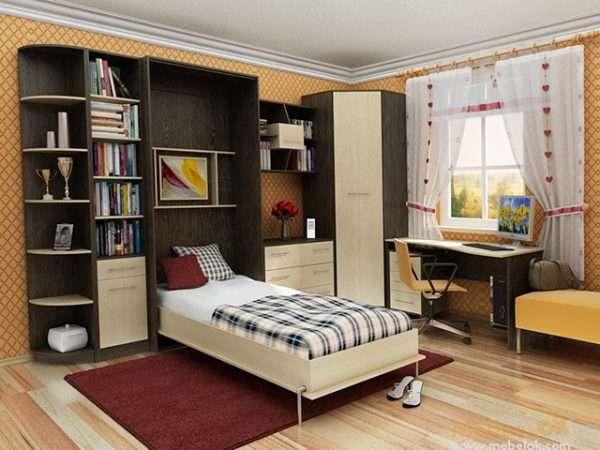 Дизайн интерьера маленькой спальни с кроватью трансформером