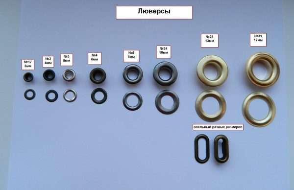 Какие бывают люверсы размеры и форма