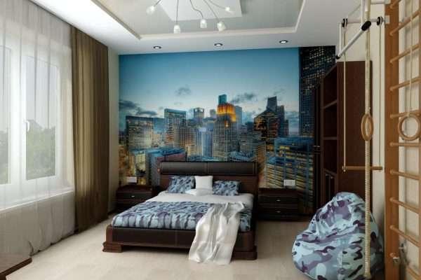 Спальня в современном стиле с фотообоями
