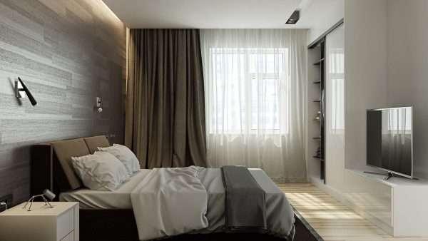 Подвесной потолок в спальне в стиле минимализм
