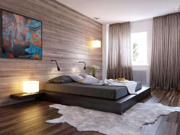 Кровать подиум в спальне в стиле минимализм