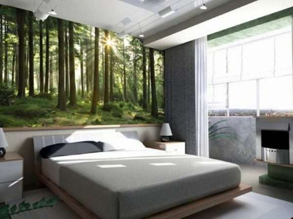 """Фотообои """"Зеленый лес"""" для спальни"""