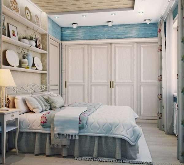 Спальня с гардеробной в стиле кантри