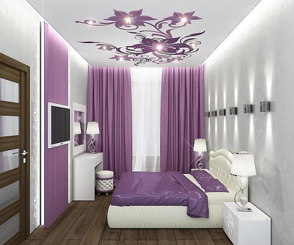 Сочетание белого и лилового цвета в оформлении спальни 10 м