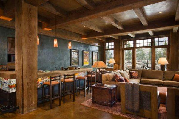 деревянная барная стойка в гостиной