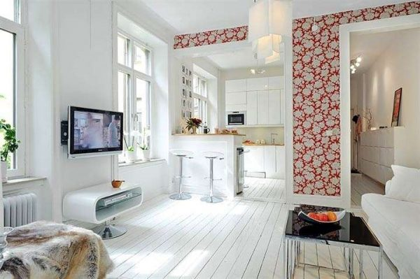 Барная стойка в гостиной в скандинавском стиле