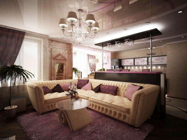 фиолетовая гостиная с барной стойкой