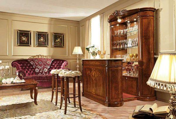 барная стойка в гостиной в стиле барокко