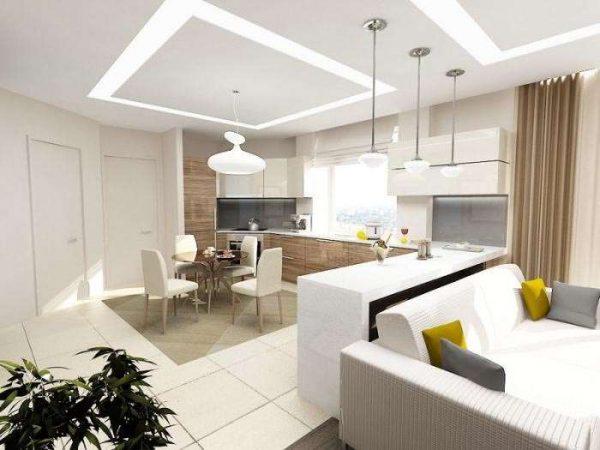 белая барная стойка в интерьере гостиной кухни