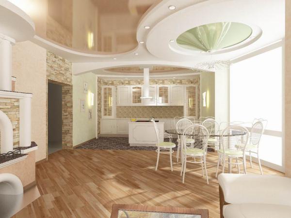 оригинальный дизайн кухни-гостиной в частном доме