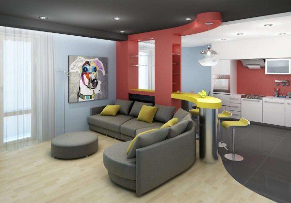 зонирование кухни-гостиной при помощи пола, потолка и стен