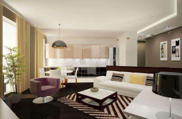 в интерьере кухни-гостиной в частном доме стиль модерн