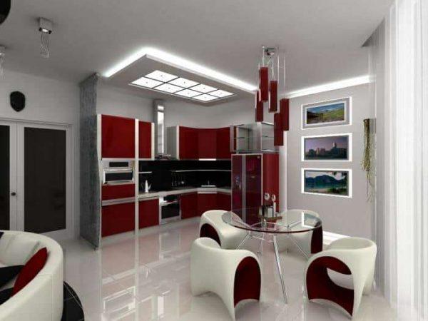 хай-тек в интерьере кухни-гостиной в частном доме