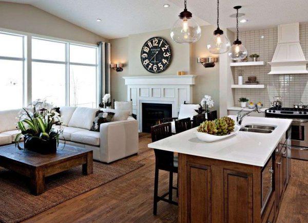 Дизайн кухни-гостиной в частном доме в эко стиле