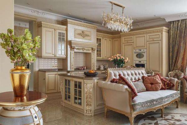 роскошный дизайн кухни-гостиной в частном доме