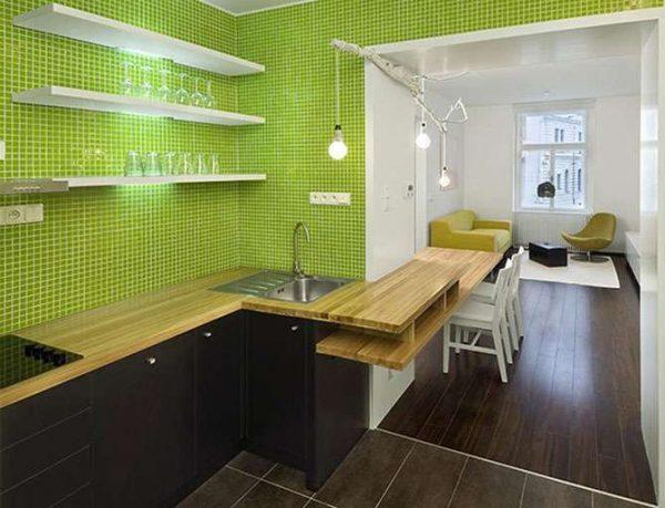 зелёный цвет в дизайне кухни гостиной в частном доме