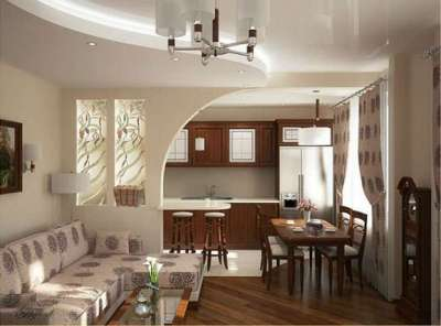Кухня-гостиная в частном доме с зонированием с помощью перегородки