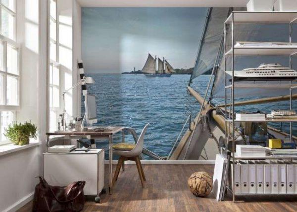 3d обои море в интерьере кабинета