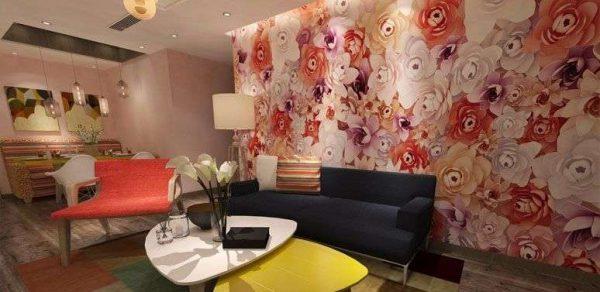 3d обои цветы в интерьере гостиной
