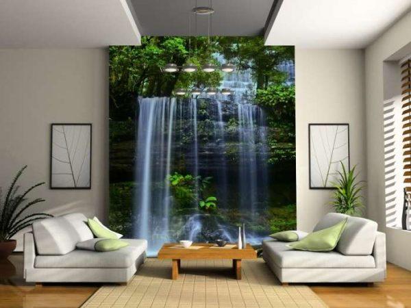 3d обои водопад в интерьере гостиной