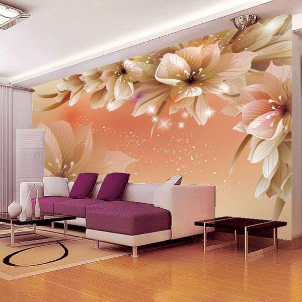 3d обои лилии в интерьере гостиной