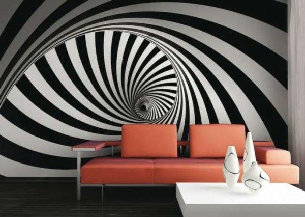 футуристические 3d обои в интерьере гостиной