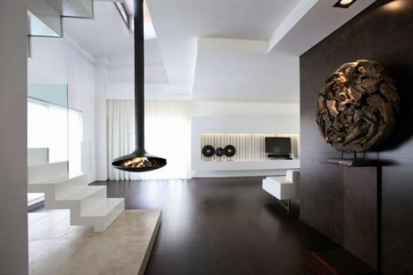 островной камин в интерьере гостиной