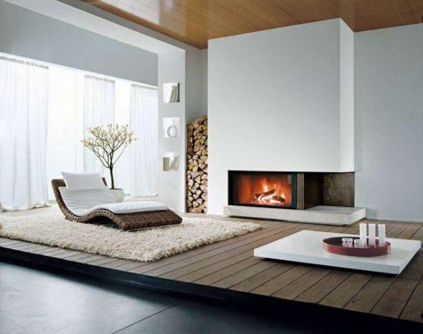модерн в гостиной с камином