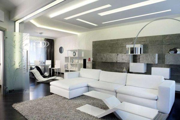 белая мебель в гостиной хай тек