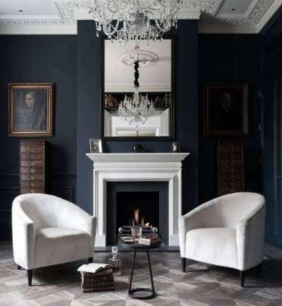 мебель белая на темном фоне