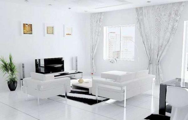 белый интерьер с белой мебелью