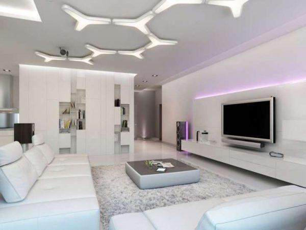 современный интерьер с белой мебелью