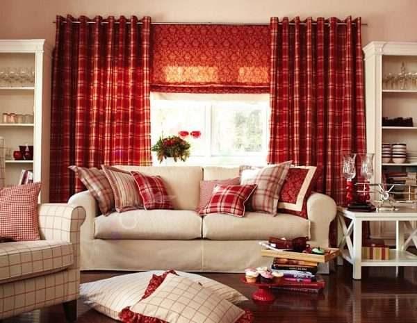 бордовые шторы классические и рулонные