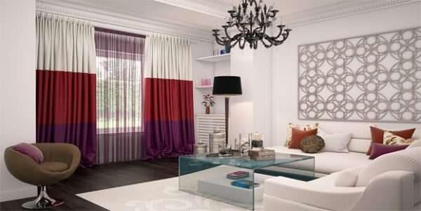 трёхцветные бордовые шторы в гостиной