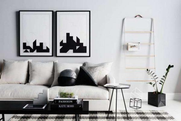 скандинавский стиль в интерьере черно-белой гостиной