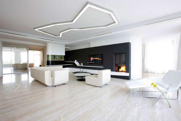 черно-белый минимализм в интерьере гостиной