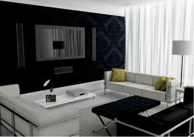 Дизайн гостиной в черно белых тонах фото