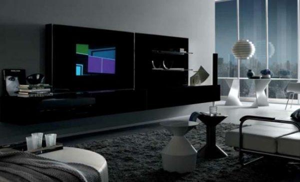 модерн в интерьере черно-белой гостиной