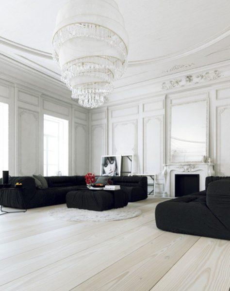классический стиль в интерьере черно-белой гостиной