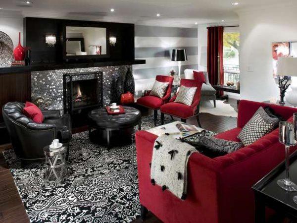 сочетание красного черного и белого цветов в гостиной