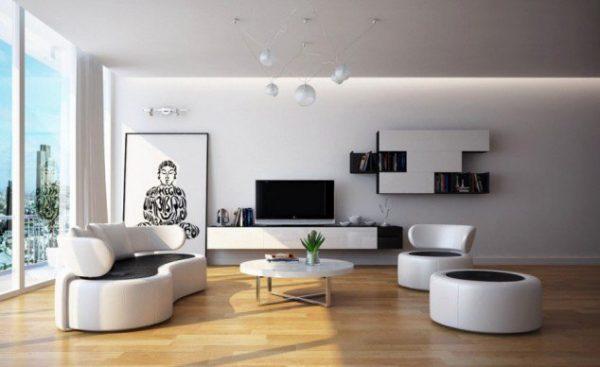 круглый кресла и диван с закругленными торцами в интерьере черно-белой гостиной