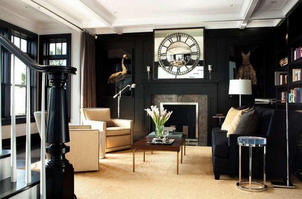 черно-белая гостиная с декором