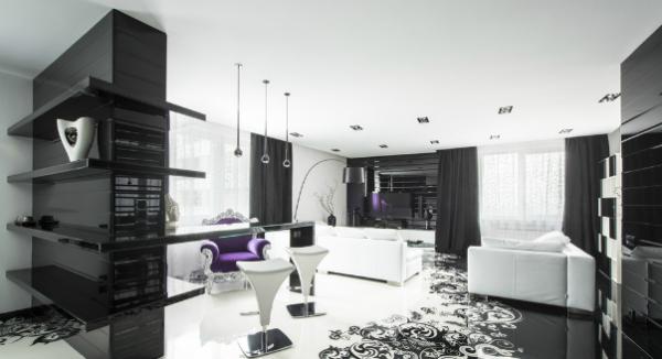 модульная черная стенка в интерьере черно-белой гостиной