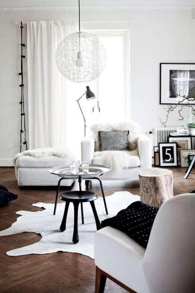 черно-белая гостиная модерн