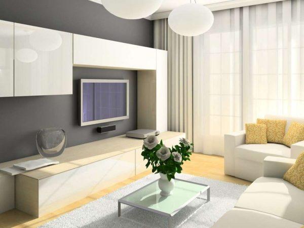 интерьер гостиной с белой мебелью