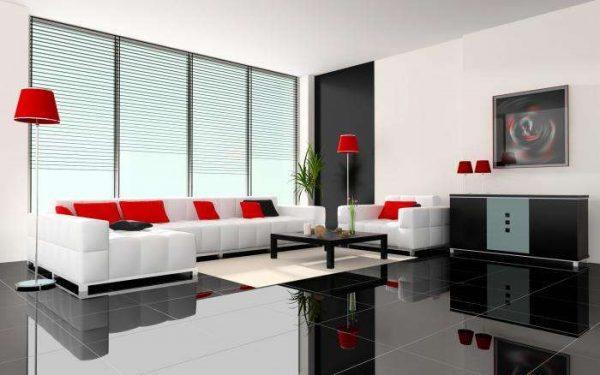 белая мебель с красным декором в интерьере гостиной
